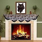 Halloween Fireplace Mantel Sciarpa Ragnatela Copertura per Il Camino Misteriosa Decorazione del Partito di Halloween Ragnatela Nera Spallina per Forniture per Feste Natalizie, 96 x 18 Pollici