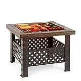 IKAYAA Brasero de Jardin Brasero Barbecue de Table en Métal avec Couvercle Puits de feu Foyer...