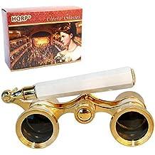 HQRP Prismáticos de ópera / Binocular de Teatro 3 x 25 blanco nacarado con adorno dorado con mango extensible