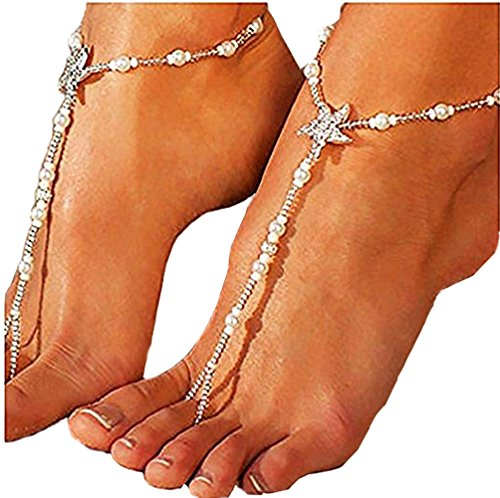 GUT 2Pcs elastische Perlen Fußkettchen Hochzeit Strand Fußkettchen Seestern barfuss Sandalen Knöchel-Ketten mit Zehenring