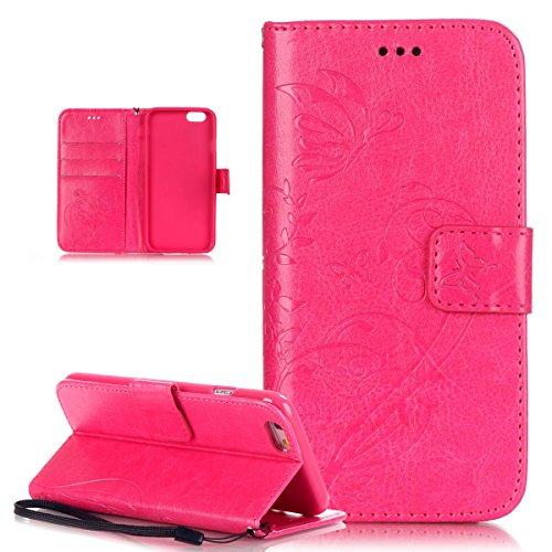 iPhone 6S Plus Hülle,iPhone 6 Plus Hülle,iPhone 6S Plus / 6 Plus Hülle (5,5 Zoll),iPhone 6S Plus / 6 Plus Lederhülle Handyhülle,ikasus® Handyhülle iPhone 6S Plus / 6 Plus Ledercase Tasche Hüllen Brief Rose Red