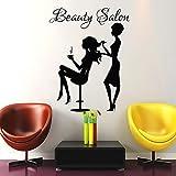 Beauty Salon Decor Haar Wand Aufkleber-Frau fashion girl Haarschnitt Friseur Friseursalon Vinyl Aufkleber Aufkleber Art Wandbild (mn472)