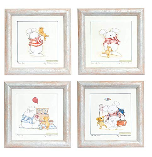 BD ART 4er Set Deko-Bilderrahmen fürs Kinderzimmer, Geschenk, Poster fürs Kinderzimmer und den Bilderrahmen, Babyzimmer Bilder, Mädchen Junge Deko, Dekoration Kinderzimmer Häschen
