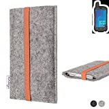 flat.design Handy Hülle Coimbra für Ruggear RG720 - Schutz Case Tasche Filz Made in Germany hellgrau orange