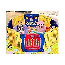 Ibaby Play Twin Box XXL 8 Piezzi + Tappetini Puzzle/Modulabili Espandibile/Recinto per la Sicurezza del Bambino