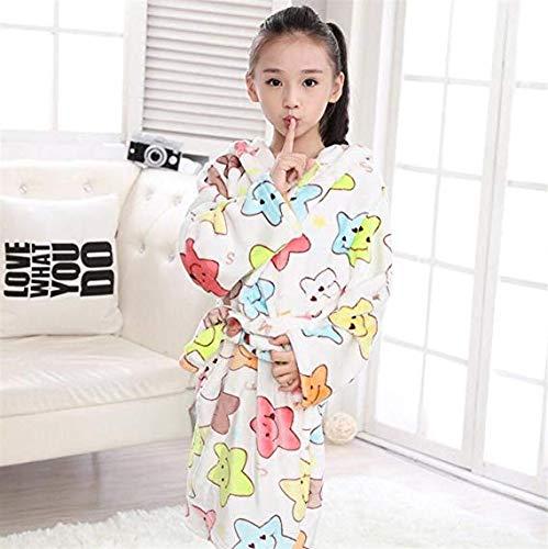Muster Flanell-pyjama (WEILIVE Gemütlich Kind-Kind-Jungen-Mädchen-Stern-Muster-Flanell-Bademantel-mit Kapuze verdickte Bademantel-Nachtwäsche-Nachthemd-Pyjamas Handtuch-Kleid)