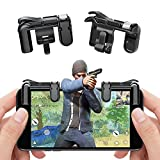 teepao Mobile Game Shooter Controller für pubg/Messer Out/Rules of Survival Ziel Schlüssel Joystick Smart Handy Tablet Gaming Controller für Android iOS 1 Paar Black (Button Models)