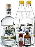 Gin-Set The Duke München Dry BIO Gin 0,7 Liter + Haymans Sloe Gin 5cl + Monkey 47 Schwarzwald Dry Gin 5cl MINIATUR + 2 x Goldberg Tonic Water 1,0 Liter + 2 x The Duke Long Drink Glas 0,3 Liter