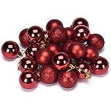 Malloom® 24PC plástico Navidad Globos de nieve Árbol de navidad adornan bola Decoración (rojo)