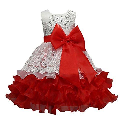 OverDose Blumen Bowknot Kinder Mädchen Kleid Prinzessin Formelle Festzug Kleid Party Brautjungfer Kleider(F-Rot,7T) (Elfenbein-blumen-mädchen-schuhe)
