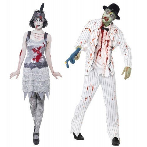 Paar Kostüm Zombie Weiß Nadelstreifen Gangster Flapper Ghost Mobster 1920er 20er Halloween Kostüme Party Outfits - Weiß, Ladies UK 16-18 & Mens (1920er Lady Kostüm)