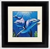 neuen 5D schwarz gerahmtes 3D Delfine Szene, dreidimensionale Linsenraster Farbe, fertig zum Aufhängen oder Aufstellen