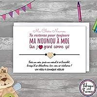 Carte de voeux Merci Nounou + Bracelet porte bonheur coeur doré