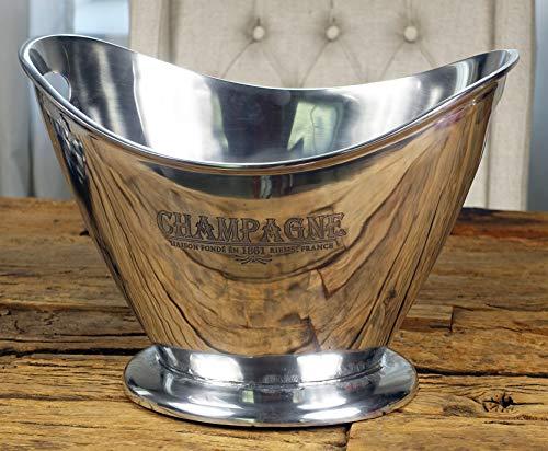 Michael Noll Champagnerkühler Champagnerschale Flaschenkühler Aluminium Silber XL Champagne 36,5 cm