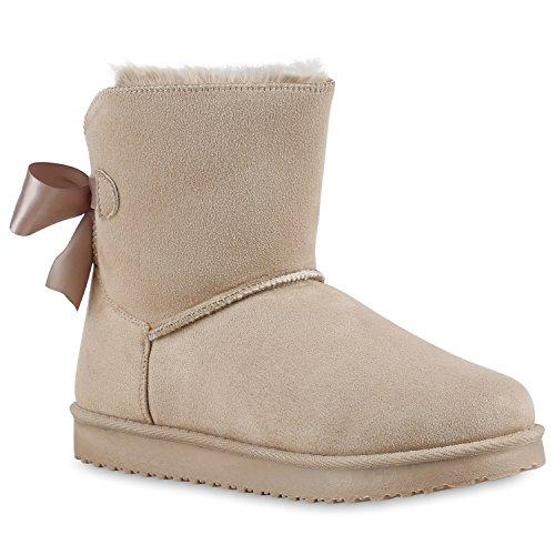 Warm Gefütterte Damen Stiefeletten Schlupfstiefel Boots Schleifen Creme