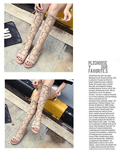 GLTER Donne Scarpe Peep Toe pompa i pattini romani conca pianeggiante sandali punta aperta ad alta tubo caricamenti del sistema freddi Khaki