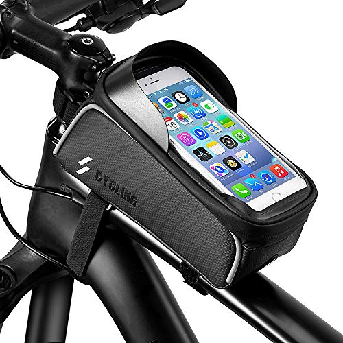 Nasharia Fahrrad Rahmentasche,Wasserdicht Handyhalter Fahrrad Tasche Handy Fahrradlenkertasche mit Kopfhörerloch für iPhone 6 7 8 Plus/Samsung s7 Edge s8 s9 Plus andere bis zu 6.0 Zoll Smartphone