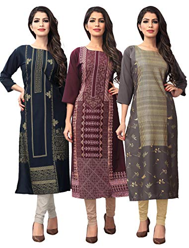1 Stop Fashion Women's Multi-Coloured Crep Knee Long W Style Foil Print Kurtas/Kurti (Pack of 3)