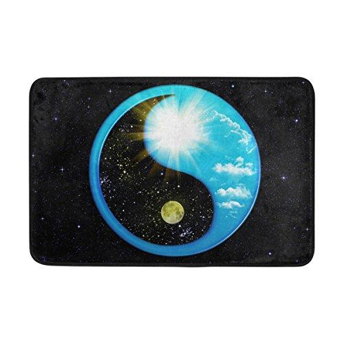jstel Yin Yang Ba Gua Tai Ji Space Galaxy Twinkle-Fußmatte waschbar Garten Büro Fußmatte, Küche ESS-Living Badezimmer Pet Eintrag Teppiche mit Rutschfeste Unterseite 59,9x 39,9cm (Twinkle Kürbis)