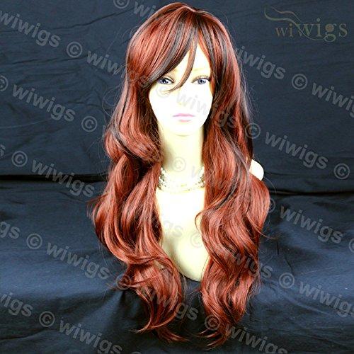 Lange Gewellte Dunkel Braun Mischen Böttcher Rot Damen Perücken Haut top WIWIGS
