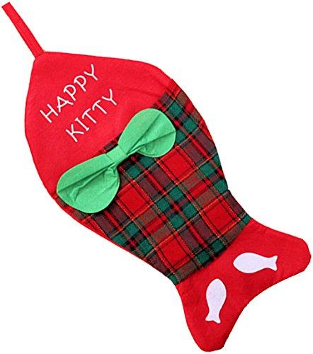Weihnachtlicher Nikolausstrumpf für KATZEN, Design: FISCH, Größe: ca. 44 x 22 cm, mit Aufhängeschlaufe, Weihnachtsgeschenk Katze