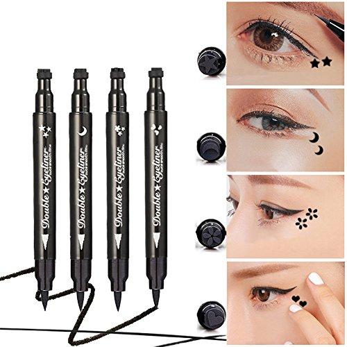 Oshide 2 in 1 Eyeliner Wasserdichter Eyeliner langanhaltend Liquid Eyeliner Schwarz Mit Stempel(All)