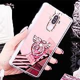 EUWLY Spiegel Schutzhülle für [Huawei Nova], Diamant Luxus Kristall Strass Glitzer [mit 360 Grad Drehbaren Ring Ständer Halter Halterung] Spiegel Glänzend Bling Überzug Farbig Mirror Case Crystal Wei