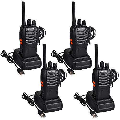 Walkie Talkie Set, Funkgeräte 16 Kanäle Reichweite 5 km Wireless Professionelle Hand-Funkgerät Dual Band Radio CTCSS/DCS Rauschsperre 400-470 MHz (2 Paar mit Headset) ()