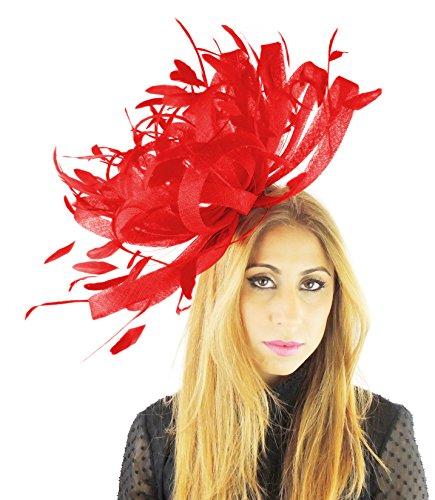 Hut/Haarschmuck, mit Straußenleder-Optik, Rot (Rote Straußenleder)