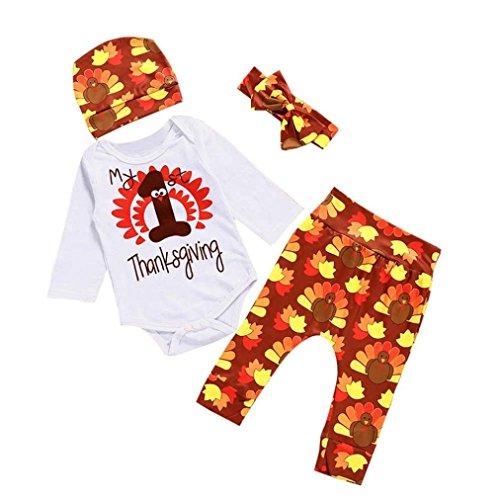 Danksagung Neugeborenes Kind Baby Simonabo Outfits Kleider Buchstaben Druck Lange Ärmel Spielanzug + Hosen + Hut + Stirnband Set (0-6M, Gelb)