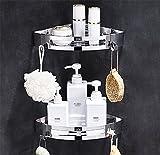 Liliya&& Badezimmer Regal Duschraum Badezimmer Regal Wandbehang Badezimmer Lagerung WC 304 Edelstahl Eckrahmen Frei Stanzen, Corner Frame 2 Layers [Dual Use