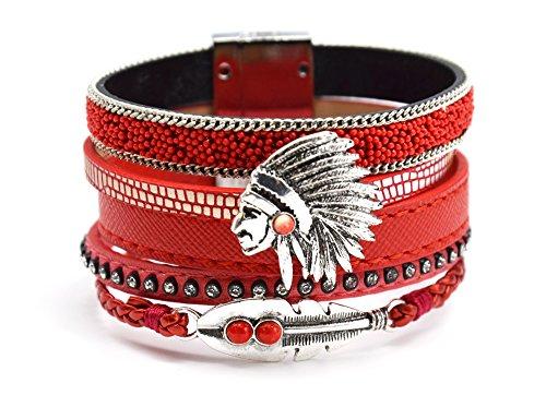 bc1552l-Bracciale Multifilo in similpelle con lustrini e piuma etnica indiana con trecce con-rosso-costume Fashion
