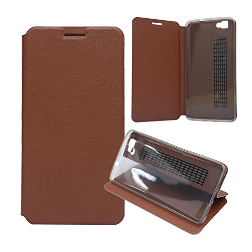 Guran® PU Leder Tasche Etui für CUBOT X15 Smartphone Flip Cover Stand Hülle Case-braun