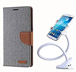 Aart Fancy Wallet Dairy Jeans Flip Case Cover for HTC826 (Grey) + 360 Rotating Bed Moblie Phone Holder Universal Car Holder Stand Lazy Bed Desktop by Aart store.