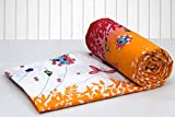 #10: AURAVE Orange Multicolored Floral pattern Reversible Cotton Duvet Cover/Quilt Cover - Single Size