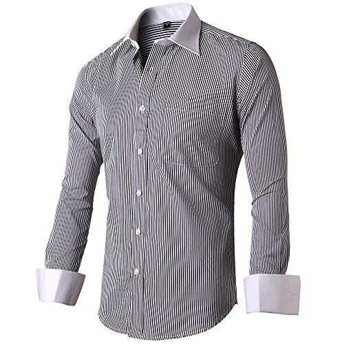 INFLATION Herren Hemd Business Freizeit Langarm Hemden mit Manschettenknöpfe Sanfter Stoff- Gr. XL/ EU 43, Schwarz-Streifen