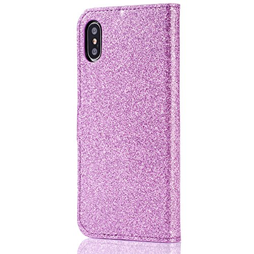 Custodia per iPhone X 5.8 Cover in Pelle Portafoglio, Funyye Lusso Bello Eleganza Diamante [Cristallo Bowknot] Design Flip Wallet Case Bello Scintillante PU Leather Shell Skin Bumper +1 x Free Screen #2 Viola