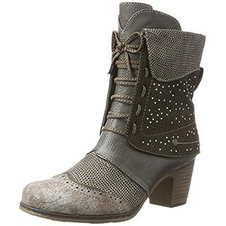 Damen Schuhe Schnürstiefeletten Worker Boots Stiefeletten Block Absatz 150550 Grau Autol 40 Flandell D6jV68