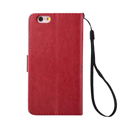 iPhone 5S Hülle,iPhone SE Tasche Case,iPhone 5 Cover - Felfy Bookstyle Ledertasche Luxus Premium Flip Folio PU Leder Taschen Schöne Panda Kreative übersichtliches Design Geprägte Fantasie Fliegen Fall Rote Hülle