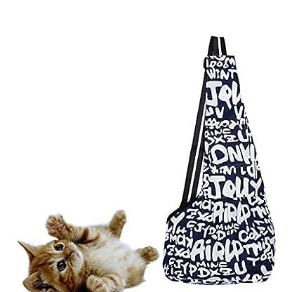 Oxford Pet Dog Cat Outside Travel Strap Sling Single Shoulder Bag Carrier Holder - Blue White S 4