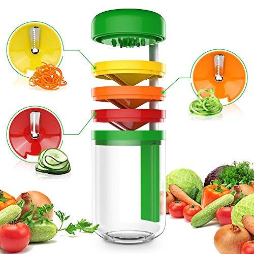 Uvistare 3 en 1 Cortador Espiralizador Verduras Espiral Manual Multifuncional Mini Máquina con Recipiente Pequeño, Mango Ergonómico para Patatas Pepinos Calabacín Rábanos Remolachas