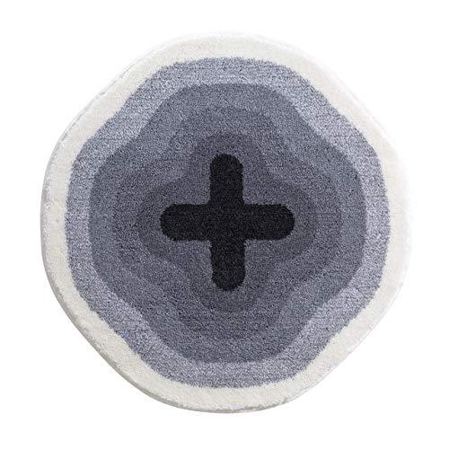 Grund KARIM RASHID Exklusiver Designer Badteppich 100% Polyacryl, ultra soft, rutschfest, ÖKO-TEX-zertifiziert, 5 Jahre Garantie, KARIM 03, Badematte 60 cm rund, grau