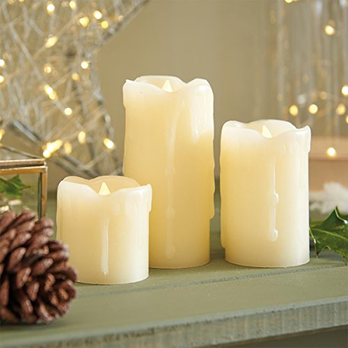 Cream Pillar Candles - Real Wax - 3 Pack - Flickering Flame - Warm White LED - Battery Operated by Festive Lights