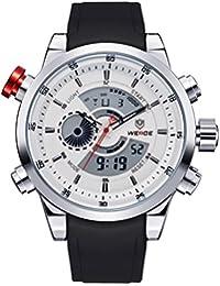 DEHANG - Weide Montre Homme DualTime Analogique-Digital Chronographe LCD Numérique Multifonction - Bracelet en Polyuréthane Sport Casual - 3401