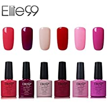 Elite99 Esmalte de Uñas Semipermanente Uñas de Gel UV LED Kit de Manicura 6pcs con 10pcs de Quitaesmaltes Pintauñas Soak off Base Coat Top Coat - Kit 002