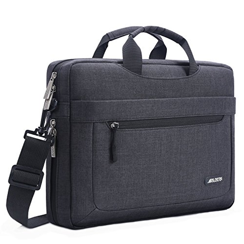MOSISO Umhängetasche / Laptoptasche für 17-17,3 Zoll MacBook / Notebook / NetBook / Chromebook / Tablet, Polyester Laptop Schultertasche Sleeve Hülle Messenger Notebooktasche Beweglicher Schulter Beutel mit verstellbarer Tiefe an der Unterseite, Schwarz