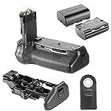 Neewer empuñadura de batería + batería de repuesto el Kit incluye: 1 x batería para empuñadura de cámara réflex digital Canon EOS 70D de repuesto para BG-E14 + 2 x 7,4 V 1800 mAh recargable de repuesto LP-E6 Li-ion Batería para 70D empuñadura de batería, Compatible con Canon EOS 5D Mark II, 60D y cámaras 7D SLR