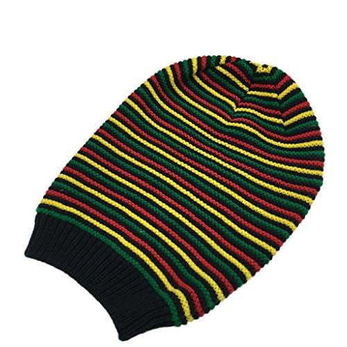 Bigood Rasta Jamaican Reggae Striped Skull Cap Winter Warm Slouchy Beanie Hat