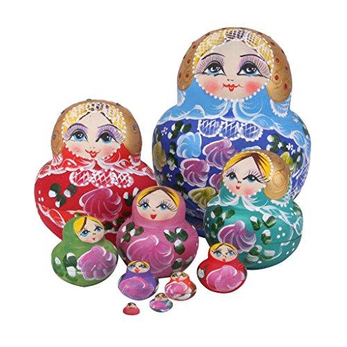 10pcs Muñecas de Anidación Rusa Matrioska Flores Pintada de Mano Madera Colorido