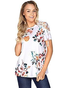 Camiseta de tirantes con diseño de flores, color blanco con encaje en el hombro, para fiestas, uso informal, verano...